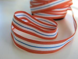 Bomullsband Rand 14 mm orange-vit-blå