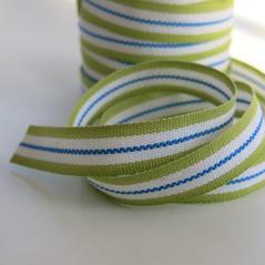 Bomullsband Rand 14 mm grön-vit-blå