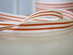 Bomullsband rand orange 12 mm
